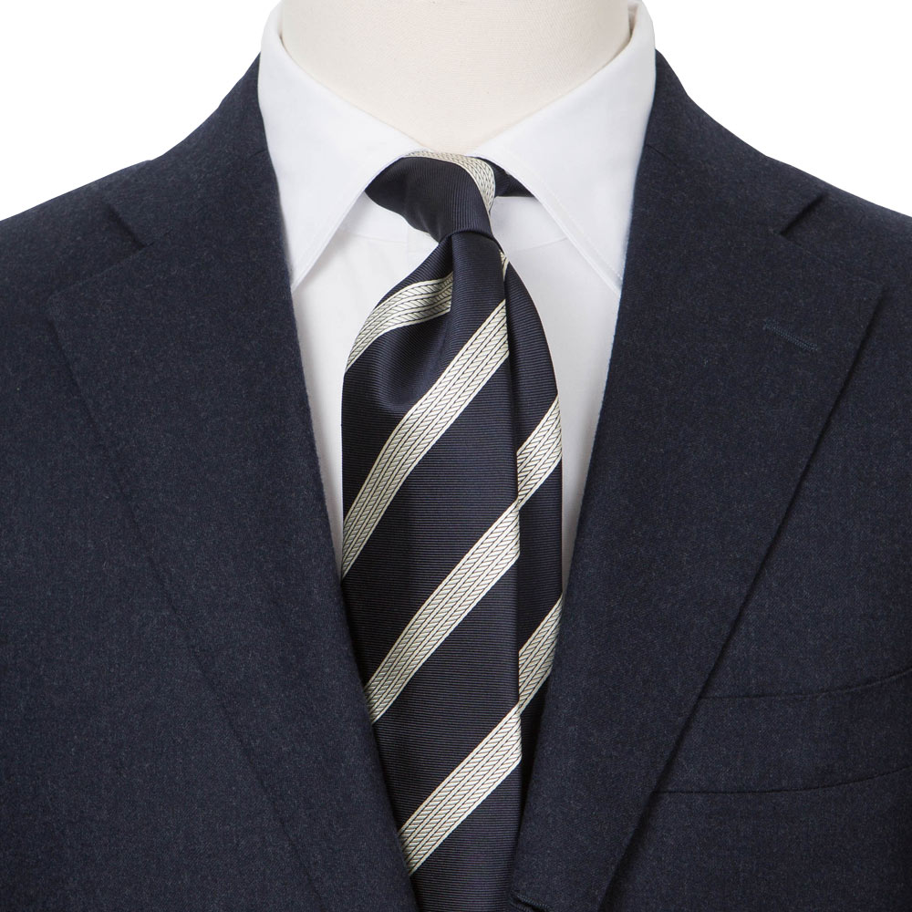 TRIPLE ROPE REGIMENTAL NAVY SILK TIE