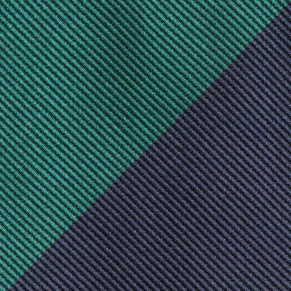 블록 스트라이프 네이비 & 그린 실크 넥타이