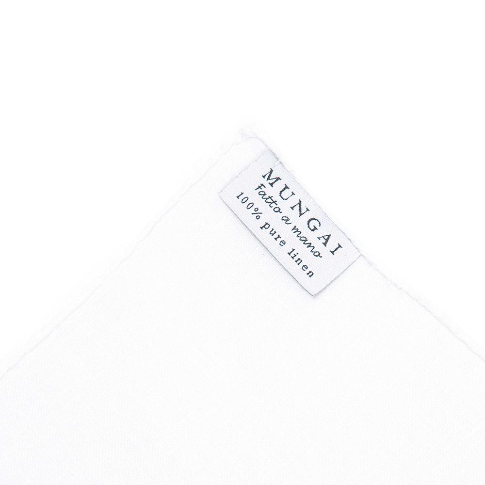 [문가이] HANDROLLED EDGE PURE WHITE LINEN POCKET SQUARE