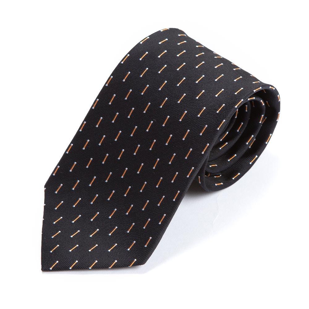 오렌지 화이트 스틱 패턴 블랙 실크 넥타이