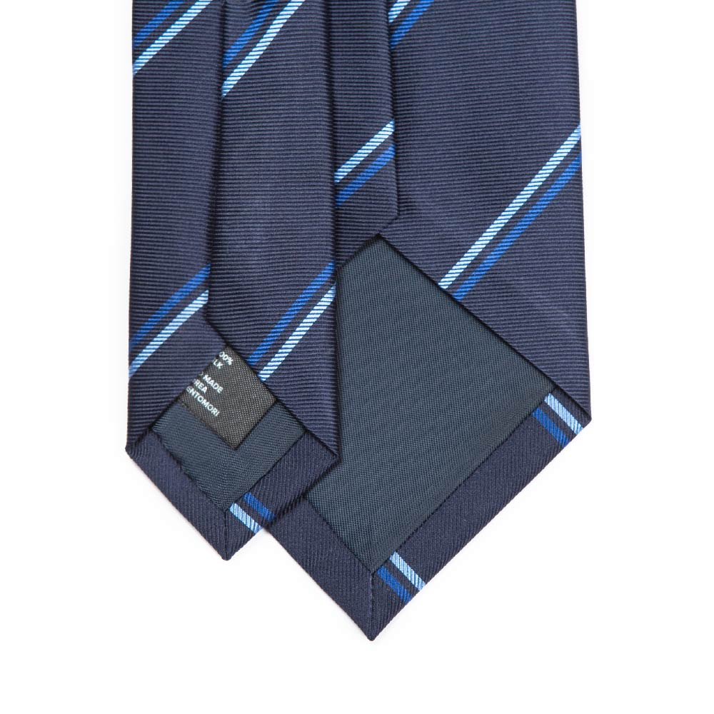 NAVY & BLUE THIN STRIPE TWILL SILK TIE