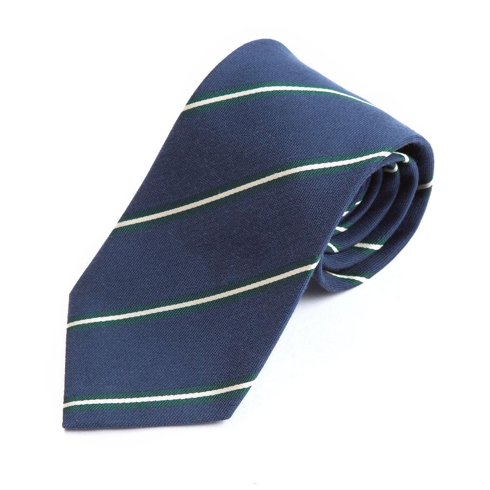 GREEN & WHITE ROPE STRIPE WOVEN SILK TIE IN NAVY