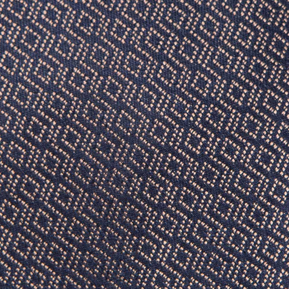 라티스 패턴 베이지 네이비 자카드 실크 넥타이