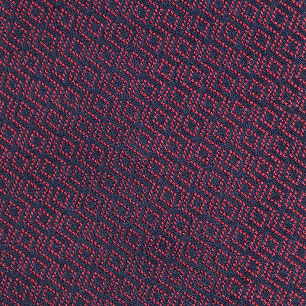 라티스 패턴 버건디 네이비 자카드 실크 넥타이