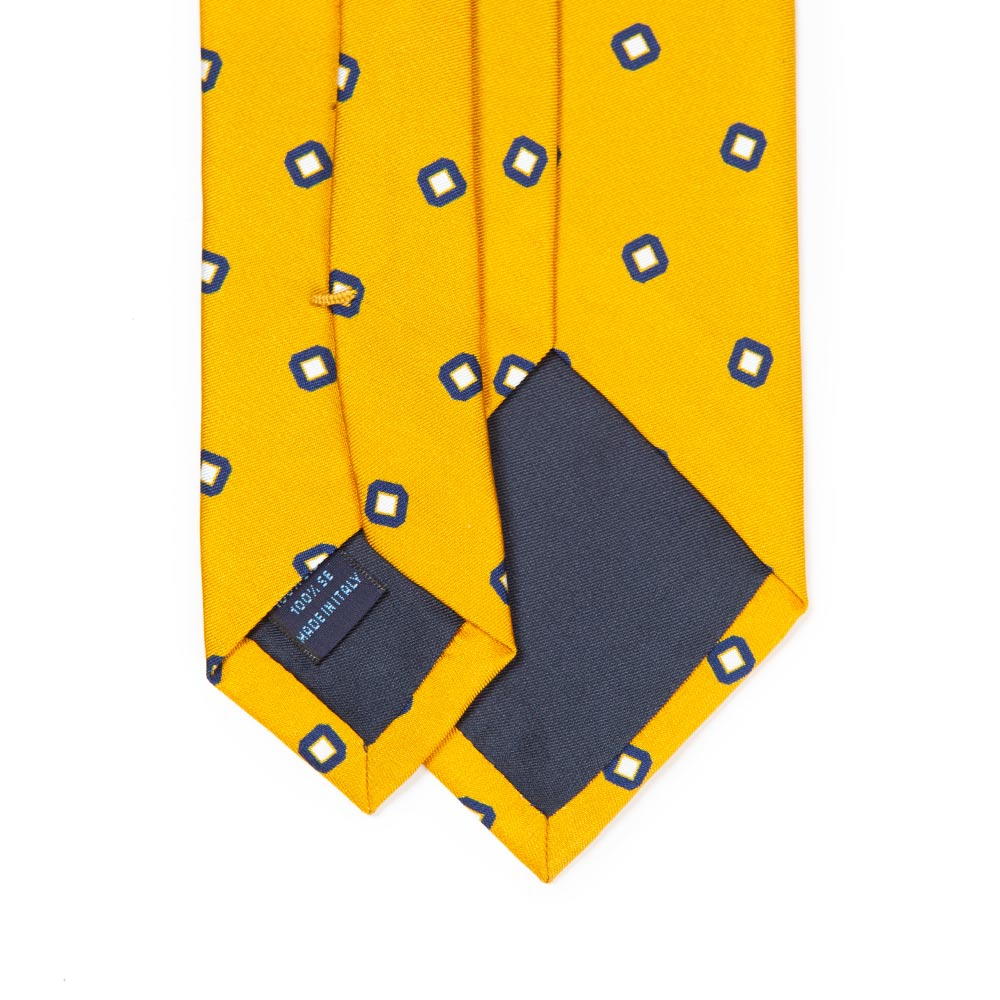 [FRANCO BASSI][GOLDEN 80'S] NAVY & WHITE SQUARE PATTERN PRINTED SILK TIE IN YELLOW