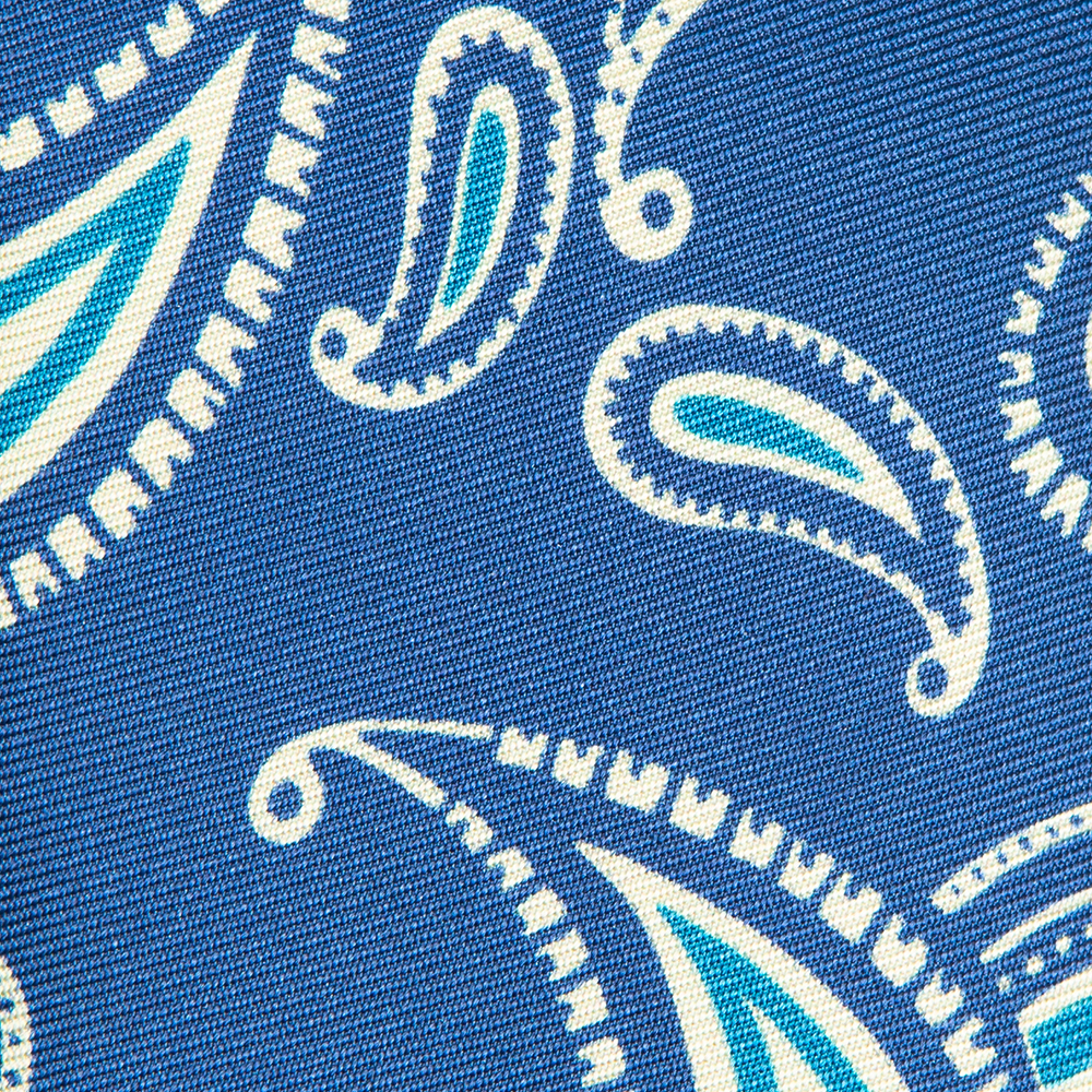 [FRANCO BASSI] WHITE PRINTED PAISLEY PATTERN SILK TIE IN BLUE