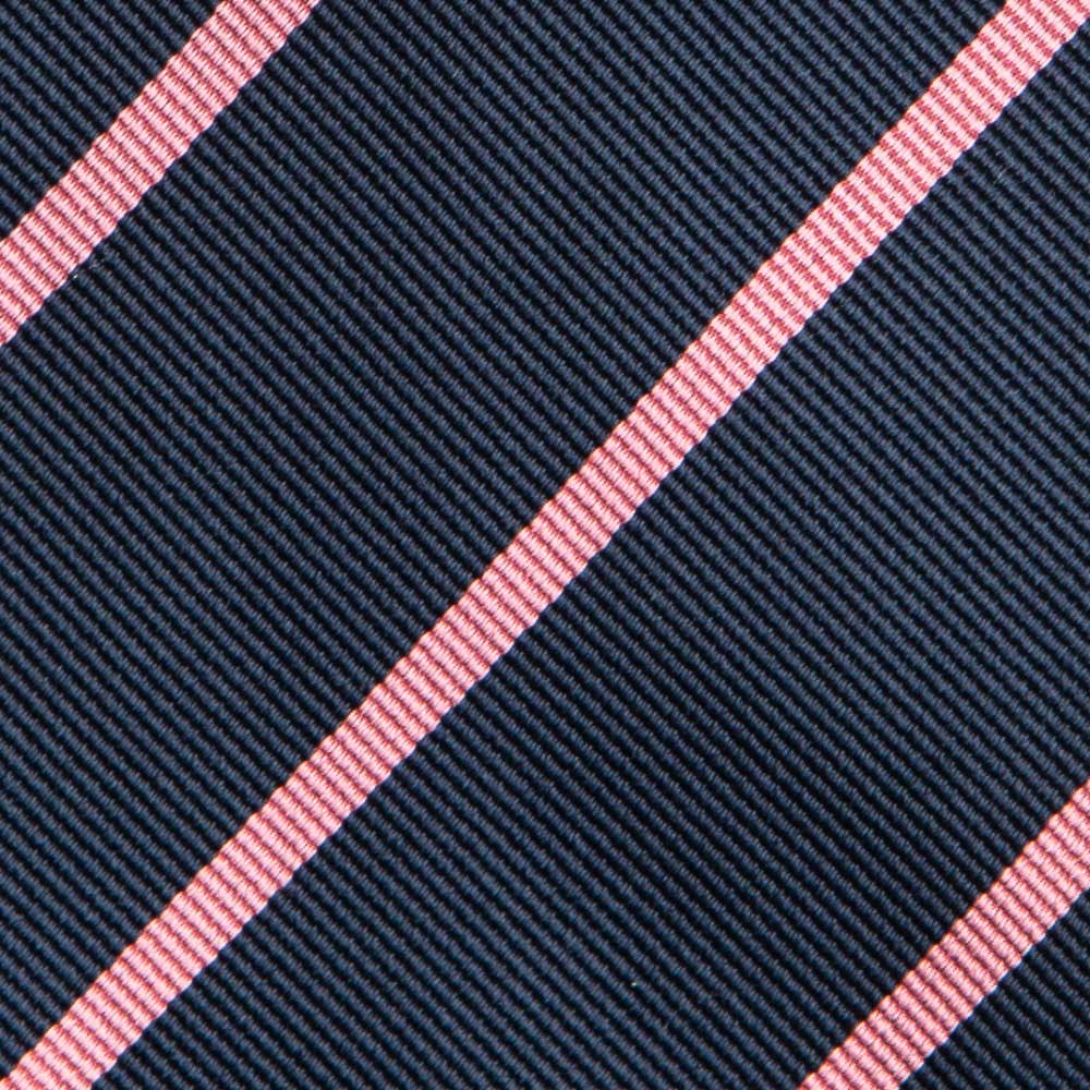 실크 스트라이프 다크네이비 핑크 넥타이