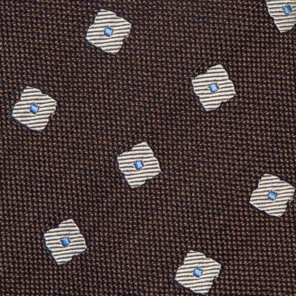 프랑코 바씨 실크 실버 플라워 패턴 브라운 넥타이