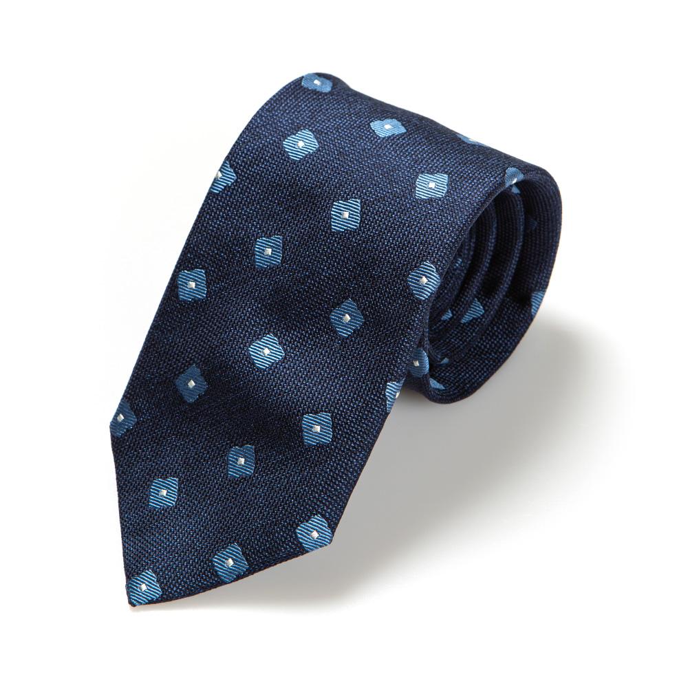 프랑코 바씨 실크 블루 플라워 패턴 네이비 넥타이