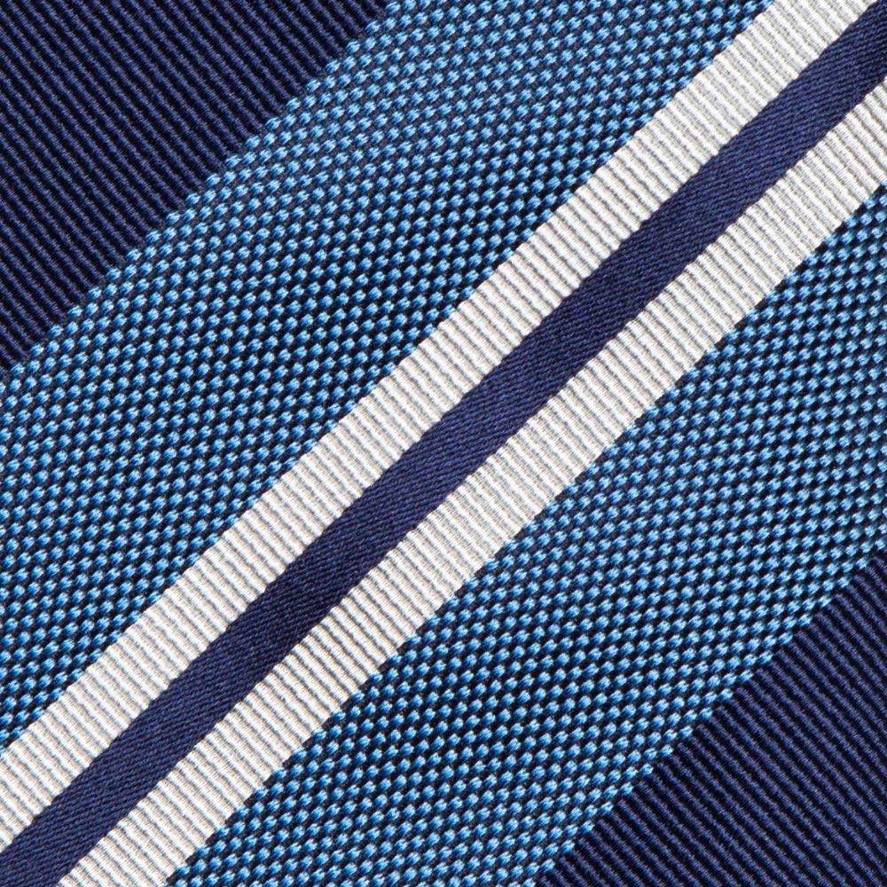 프랑코 바씨 실크 트윌 스트라이프 네이비 블루 화이트 넥타이