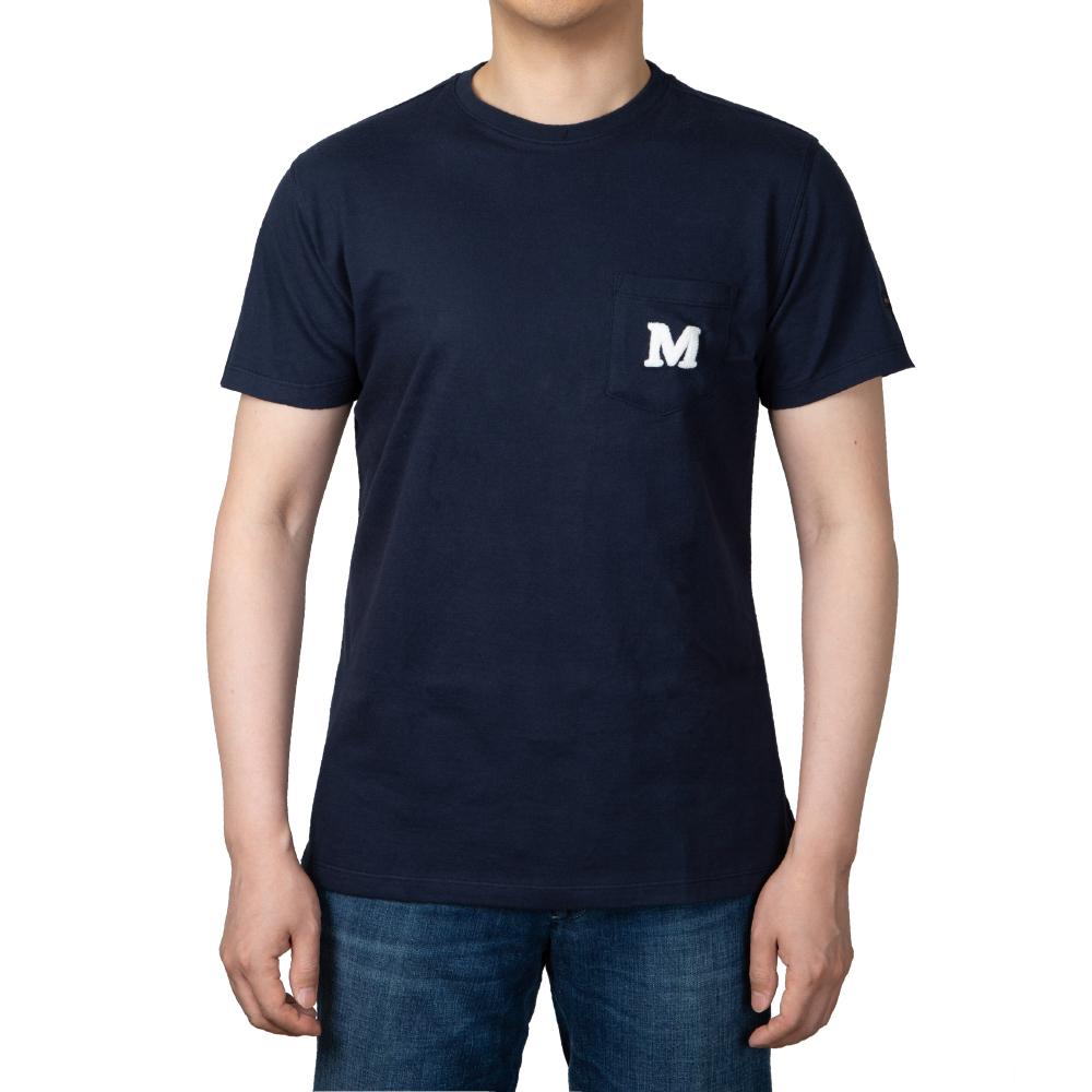 모리 심볼 포켓 클래식 네이비 반팔 티셔츠