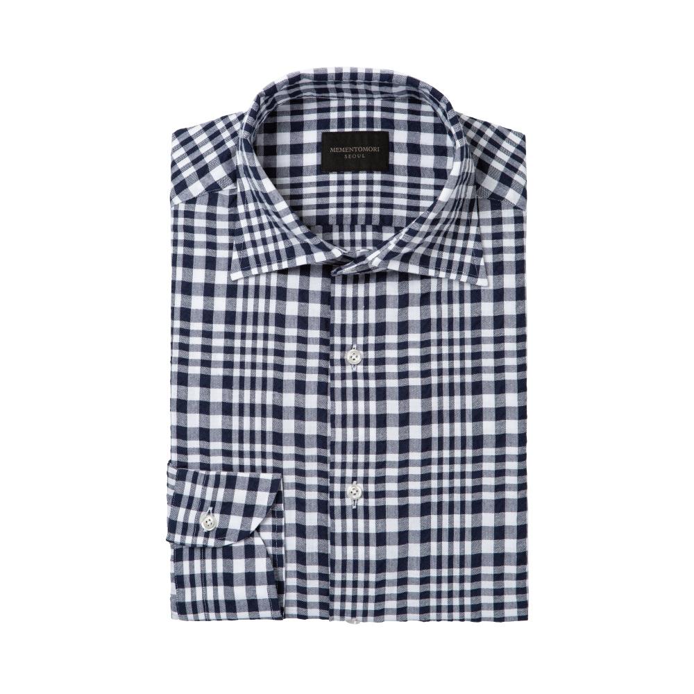 [장태진의 'OFF'] 네이비 시어서커 체크 세미 와이드 스프레드 칼라 셔츠
