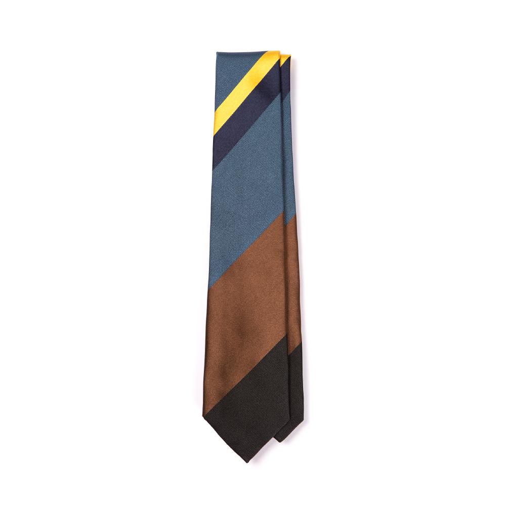 프랑코 바씨 네이비 옐로우 시그니쳐 스트라이프 블루 브라운 블랙 실크 넥타이