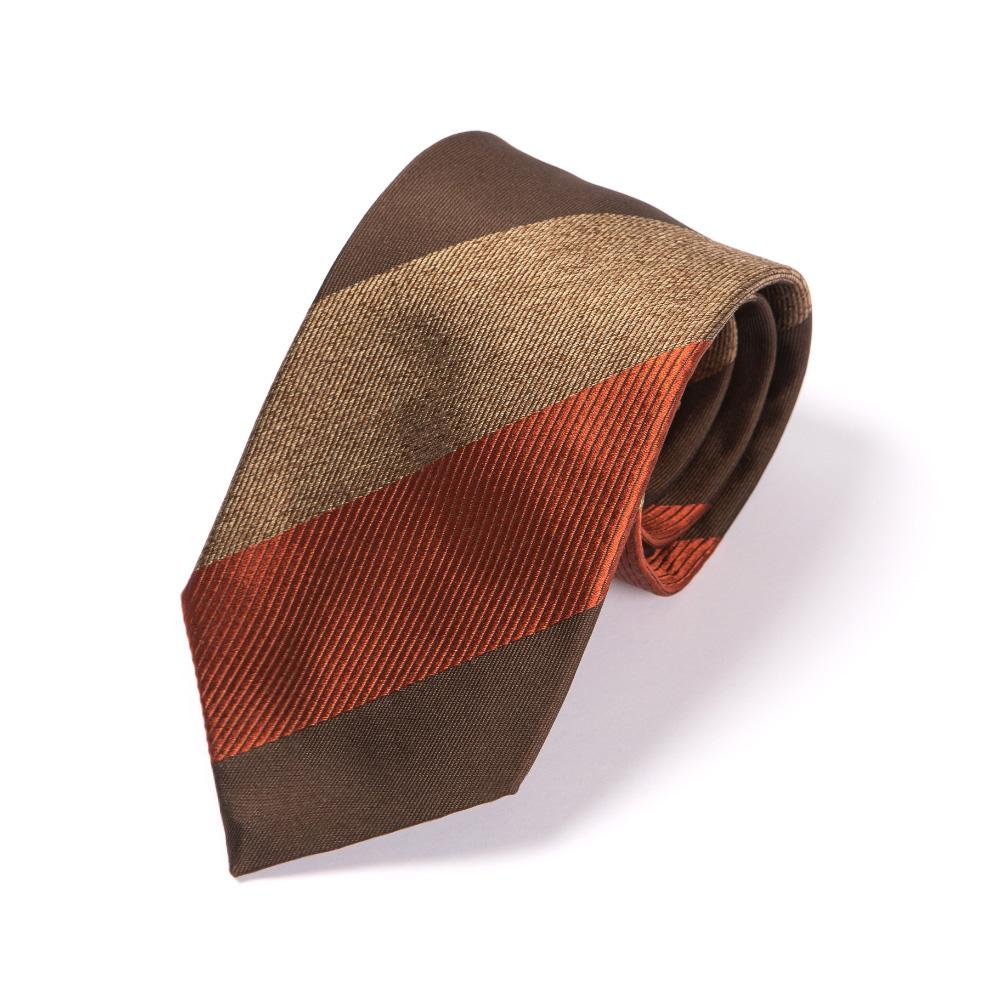 프랑코 바씨 블록 스트라이프 브라운 오렌지 다크브라운 실크 넥타이