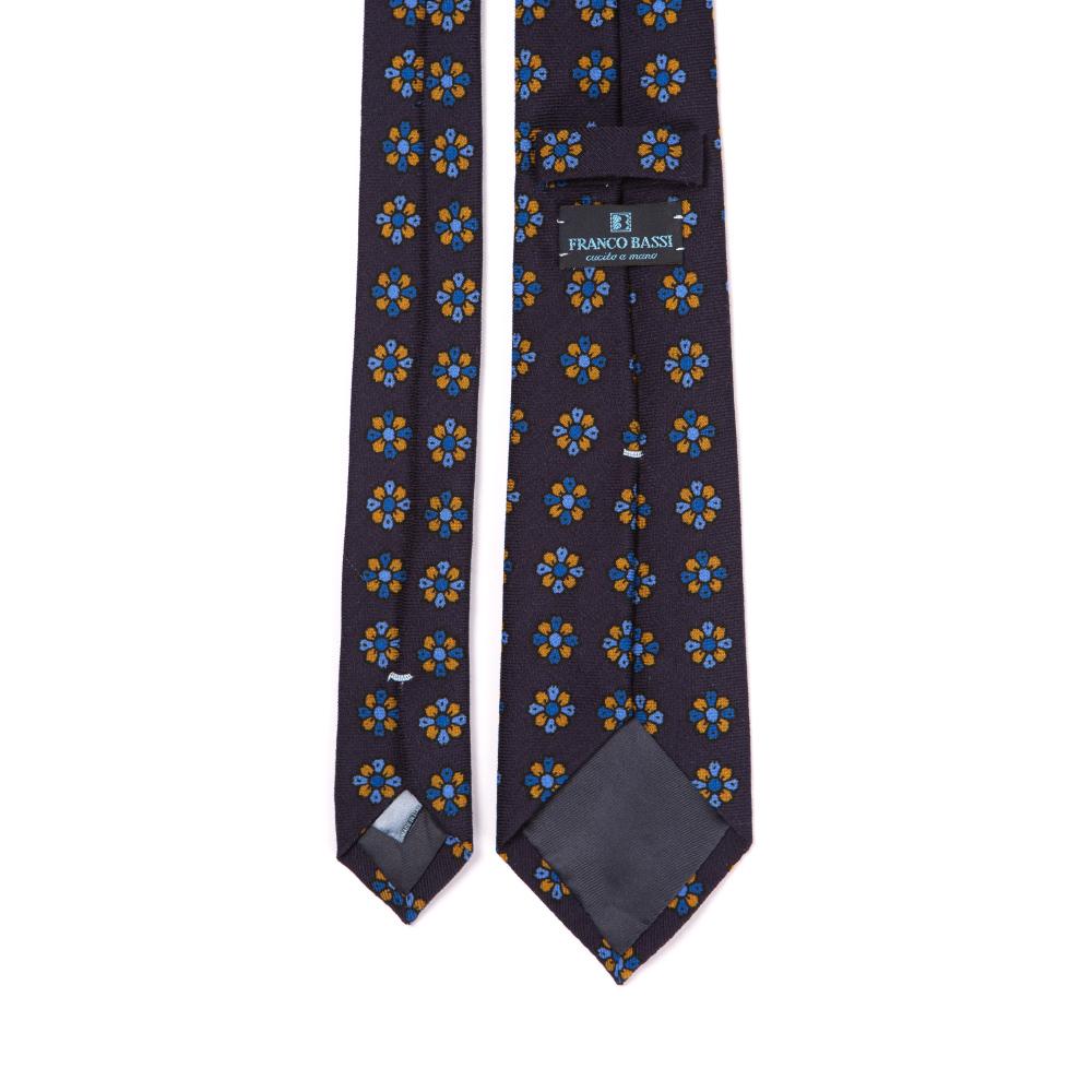 프랑코 바씨 옐로우 블루 피오레 시그니쳐 패턴 네이비 프린티드 울 넥타이
