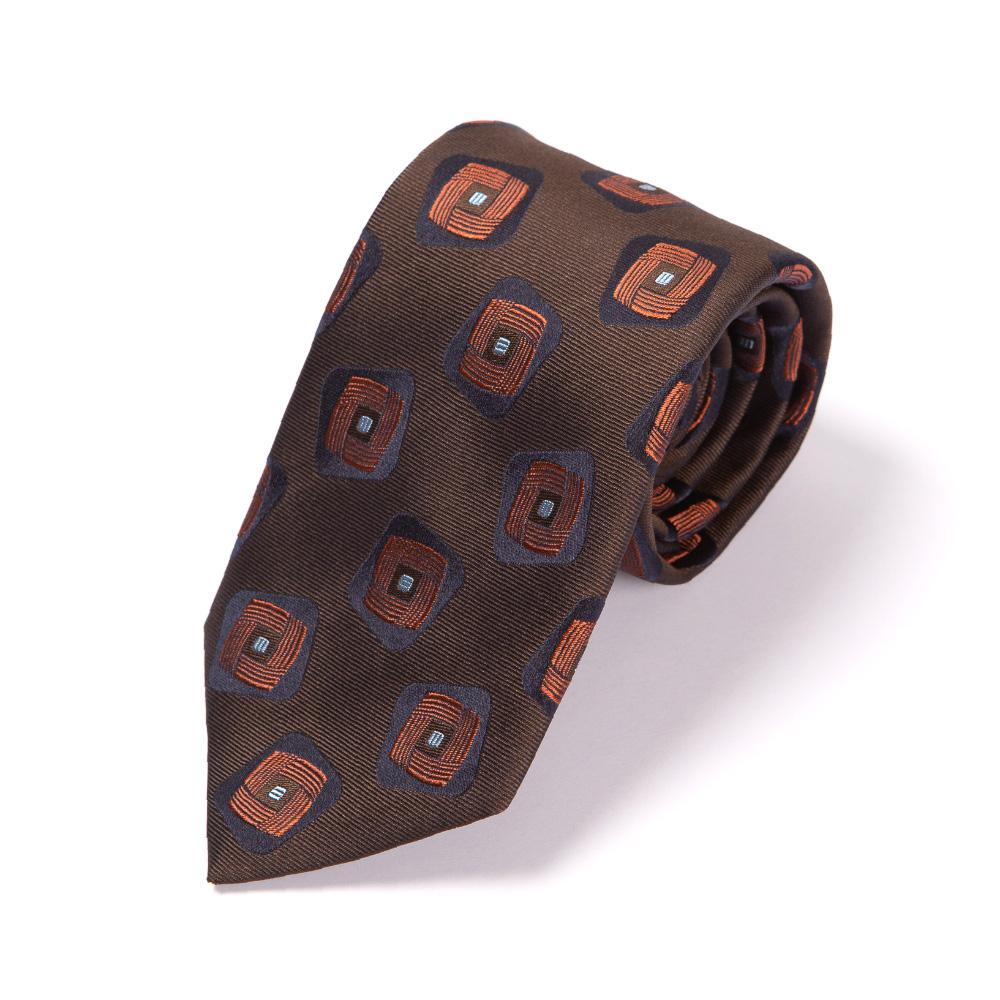 프랑코 바씨 트리플 스퀘어 패턴 에스프레소 브라운 네이비 실크 넥타이