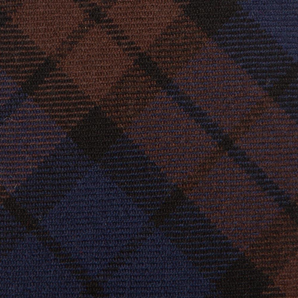 프랑코 바씨 타탄 체크 패턴 블루 브라운 버진 울 넥타이