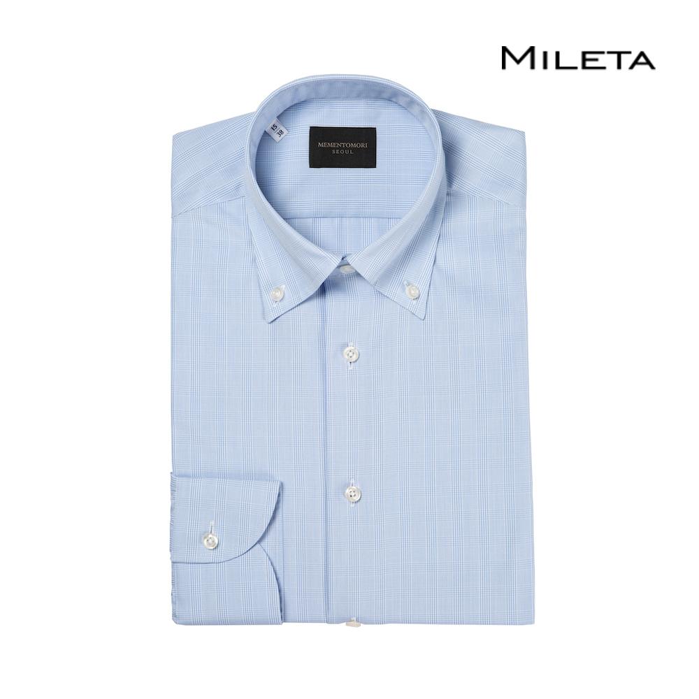 메멘토모리 밀레타 블루 글렌 플레이드 체크 코튼 버튼 다운 셔츠