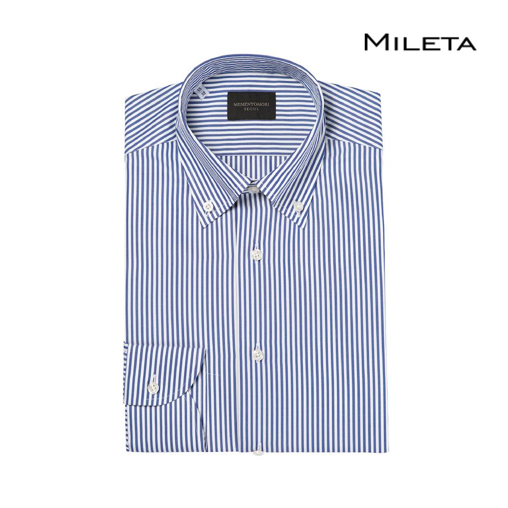 메멘토모리 밀레타 네이비 뱅갈 스트라이프 코튼 버튼 다운 셔츠