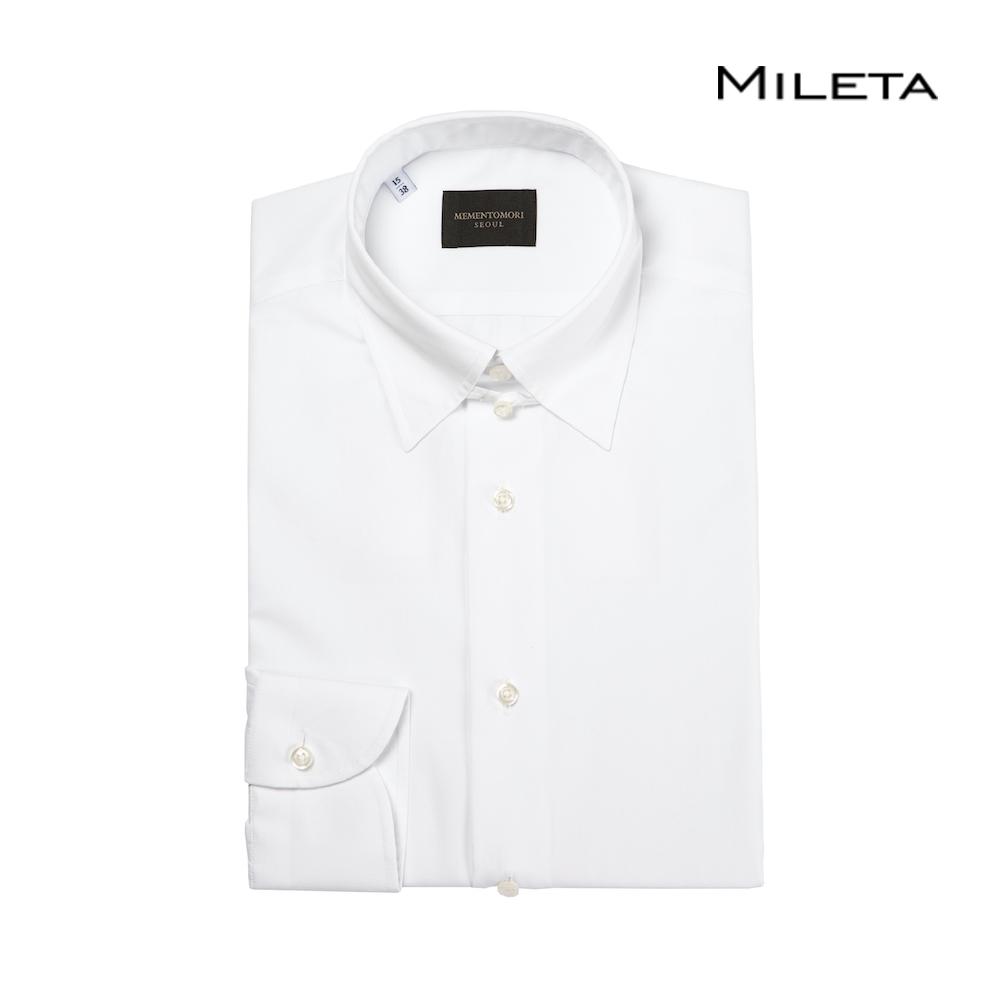 메멘토모리 밀레타 브릴리언트 화이트 포플린 탭 카라 셔츠