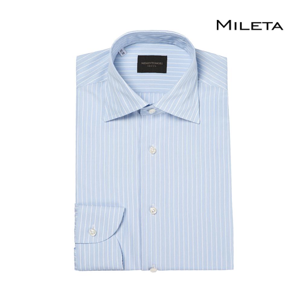 메멘토모리 밀레타 스카이 블루 리버스 스트라이프 포플린 스프레드 카라 셔츠