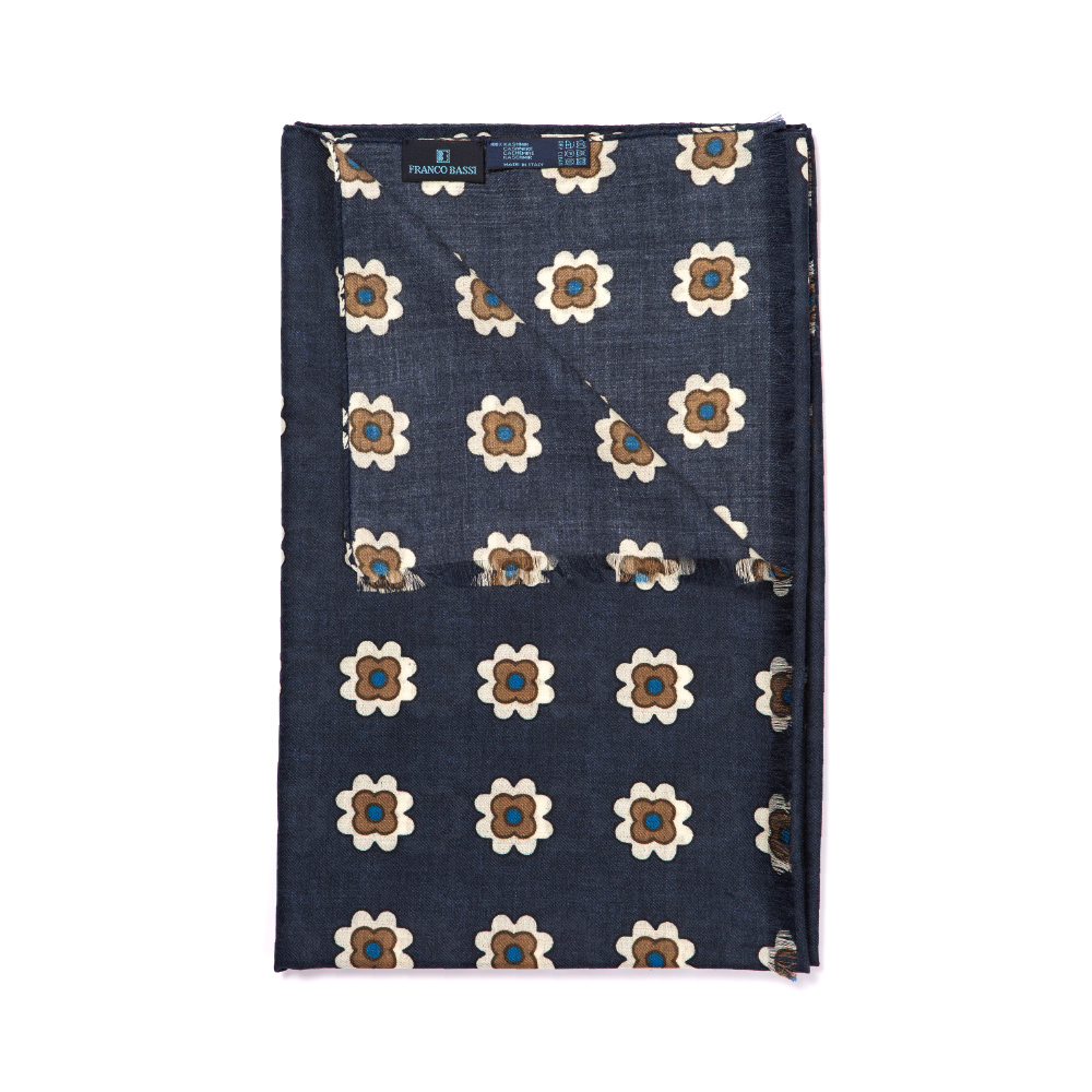 프랑코 바씨 시그니처 플라워 패턴 네이비 캐시미어 스카프